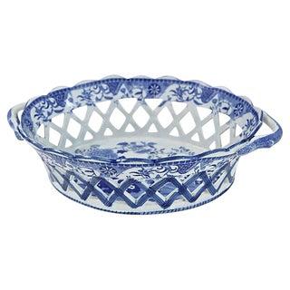 Antique English Pearlware Chestnut Basket - C. 1820