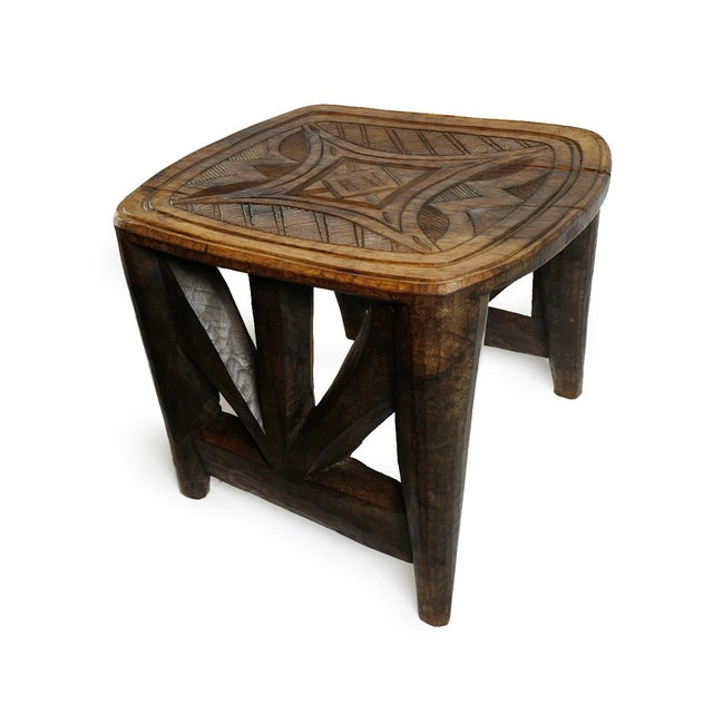Beautiful vintage tribal Nupe stool. Hand carved from a solid piece of wood with carefully designed geometric patterns...