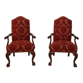 Pair of Ball & Claw Chippendale Style Mahogany Upholstered Armchairs For Sale