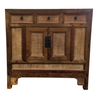 Antique Chinese Wood & Rattan Wedding Chest For Sale