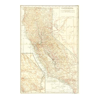 Vintage Map of California, 1928 For Sale