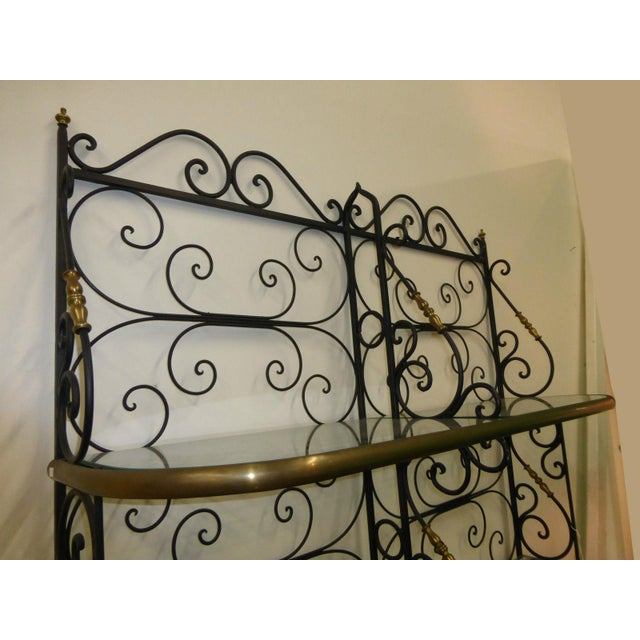 Vintage Baker's Rack Solid Wrought Iron W Solid Brass Hardware Bookcase - Image 10 of 11