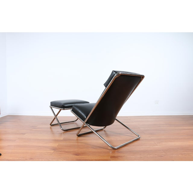 Ward Bennet Style Chrome and Leather Lounge Chair For Sale - Image 7 of 8