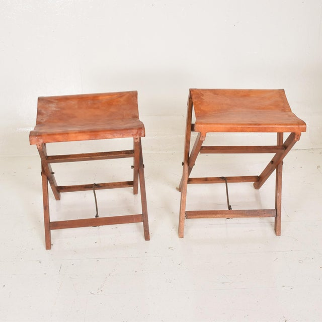 Animal Skin Antique Decorative Leather & Mahogany Folding Wood Stools - a Pair For Sale - Image 7 of 7