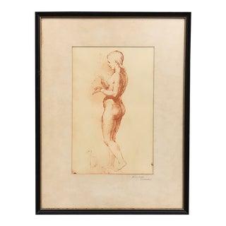 Framed Vintage Raphael Nude Figural Sketch Print For Sale
