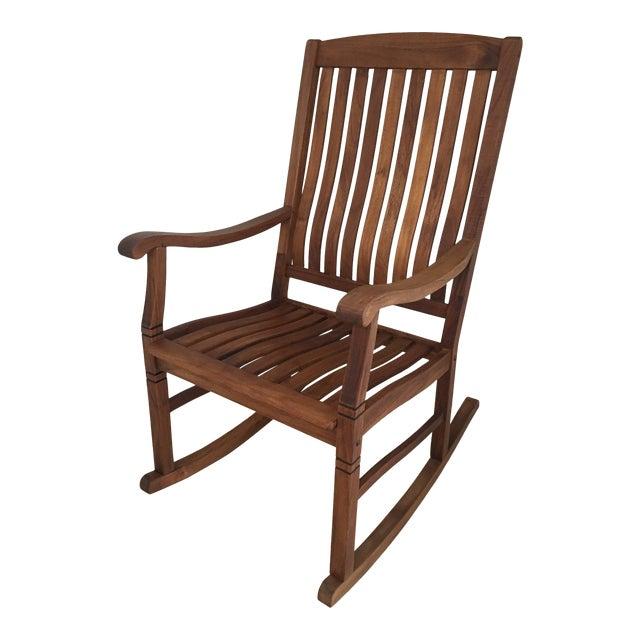 2000s Americana Cambridge Teak Rocking Chair For Sale