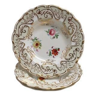 1880s Antique Davenport Staffordshire Rimmed Soup Bowls- Set of 3