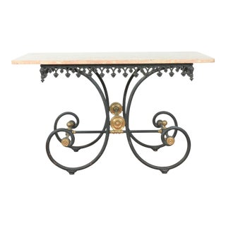 Wrought Iron & Marble Pastry Table For Sale