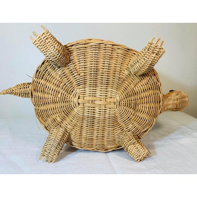 Wicker Mid Century Modern Wicker Turtle Storage Box For Sale - Image 7 of 10
