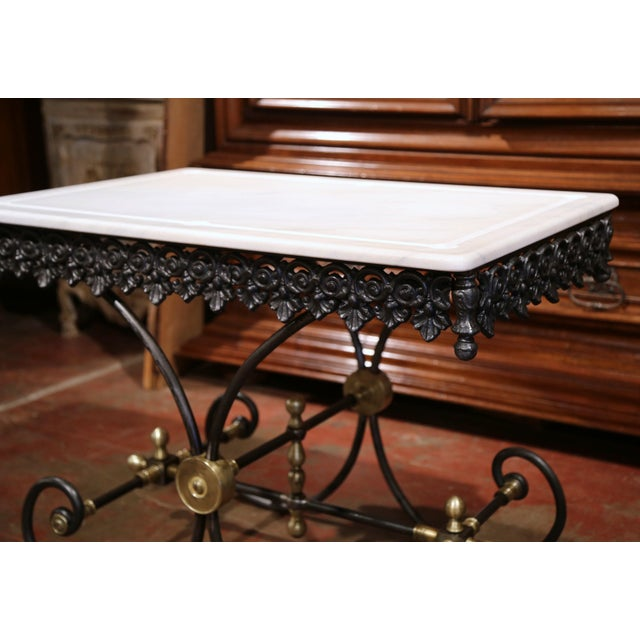 Polished French Iron Butcher or Pastry Table With Marble Top and Brass Mounts - Image 9 of 11