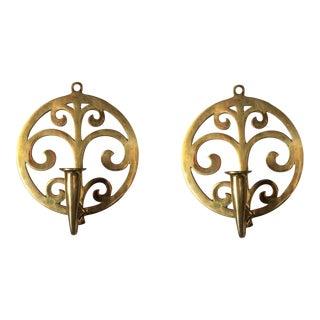 Scrolling Art Nouveau Brass Sconces - A Pair For Sale