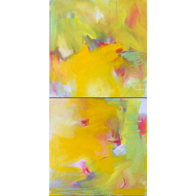 """Up and Away"" by Trixie Pitts Large Abstract Diptych Oil Painting For Sale - Image 10 of 13"