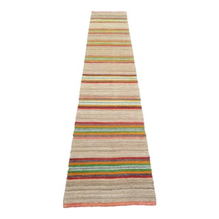 1970s Turkish Handwoven Natural Wool Kilim Runner For Sale