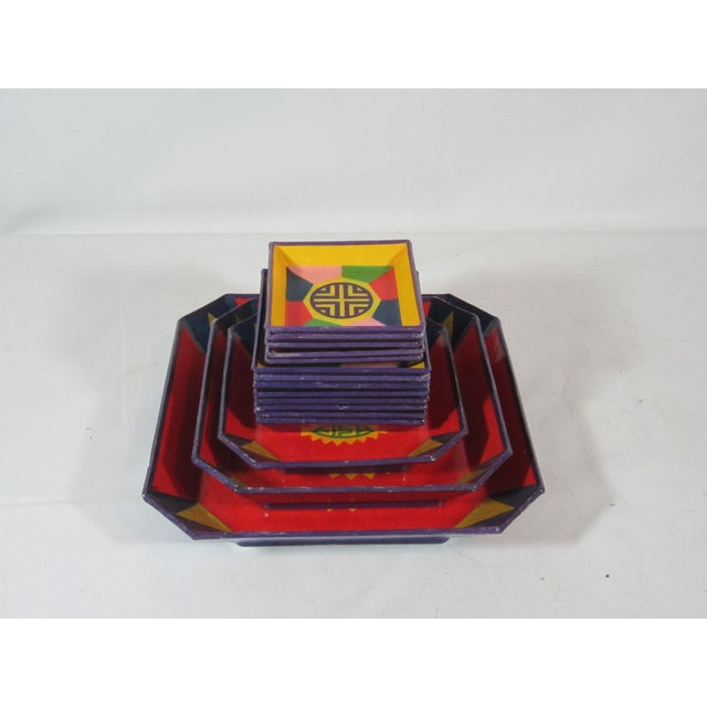Colorful Lacquered Papier-Mache Snack Set For Sale - Image 6 of 6