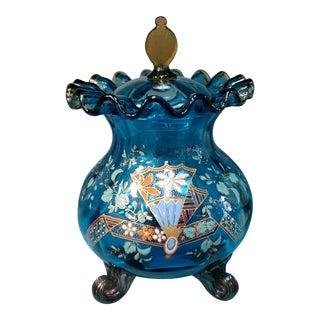 Circa 1880 Bohemian Cobalt Moser Glass Enamel Painted Footed Bulbous Jar For Sale