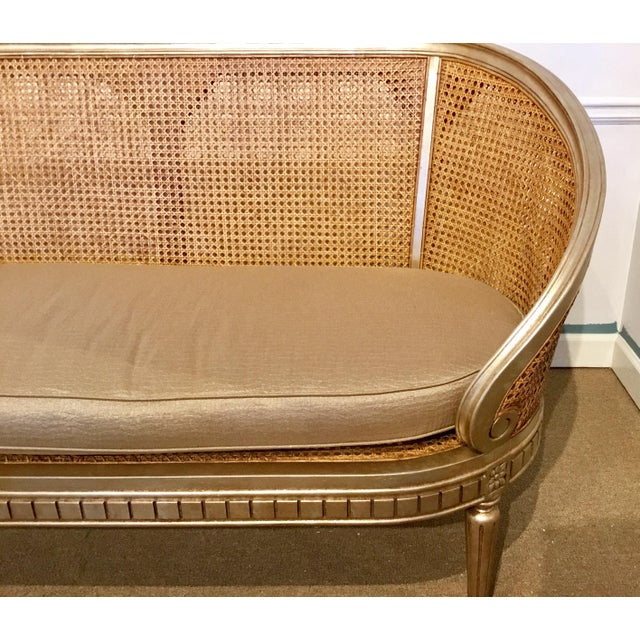Modern Currey & Co. Glam Cane Back Champagne Settee For Sale - Image 3 of 6