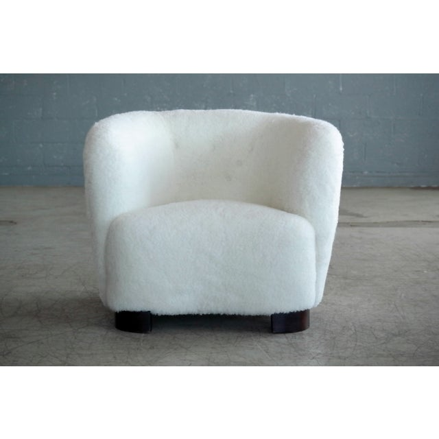 Viggo Boesen Danish 1940s Pair of Viggo Boesen Style Lounge or Club Chairs in Lambswool For Sale - Image 4 of 9