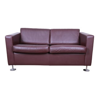 Stendig Leather Tuxedo Love Seat, Made in Switzerland For Sale