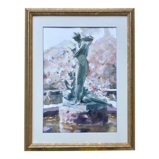 American Impressionist Watercolor of a Fountain Female Nude Figures by Harry Barton For Sale