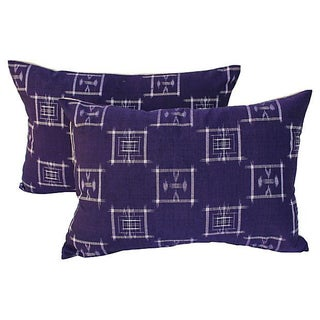 Japanese Ikat Indigo Pillows - Pair For Sale
