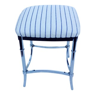 Chrome Bamboo-Style Vanity Stool For Sale