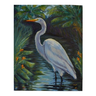 Great White Egret Painting For Sale