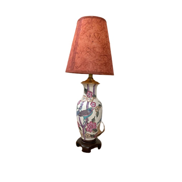 Vintage Small Hand Painted Asian Lamp For Sale - Image 4 of 4