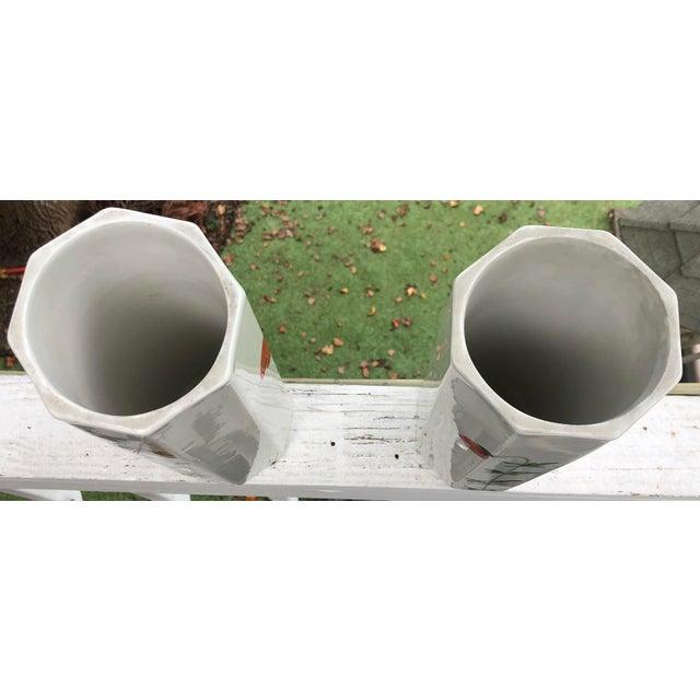 Ceramic 1960's Italian Hand Painted Ceramic Octagonal Vases - a Pair For Sale - Image 7 of 11