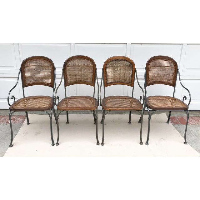 Vintage Iron & Cane Chairs - Set of 4 For Sale In Los Angeles - Image 6 of 6