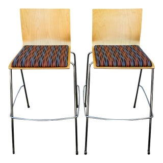 Veneer & Upholstered Bar Stools - A Pair