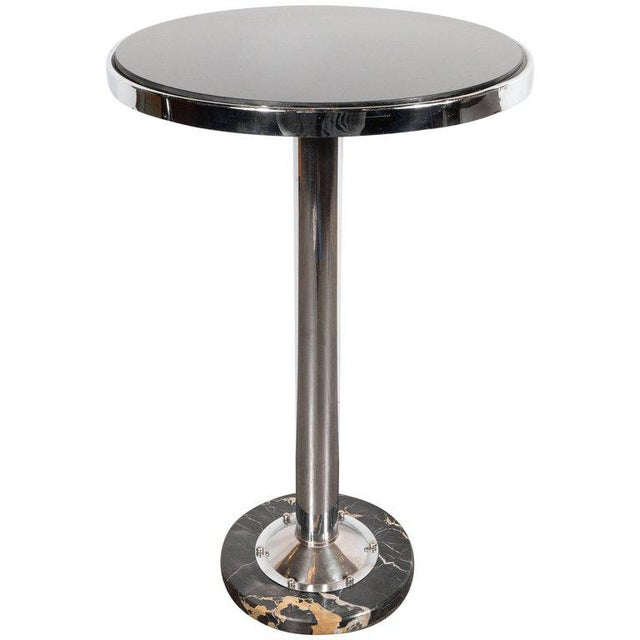 Chrome Art Deco Machine Age Chrome, Marble and Vitrolite Drinks Table For Sale - Image 7 of 10