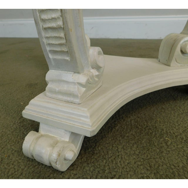 Hollywood Regency Vintage Pair White Washed Lacquer Italian Pedestals For Sale - Image 11 of 12
