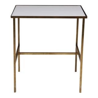 Harvey Probber Brass Frame & Vitrolite Top Telephone Table For Sale