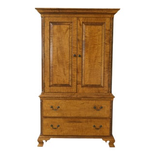 Benchmade Tiger Maple Linen Press Armoire Cabinet For Sale