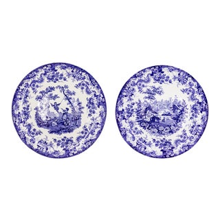 English Victorian Ceramic Floral Charger Plates - a Pair For Sale
