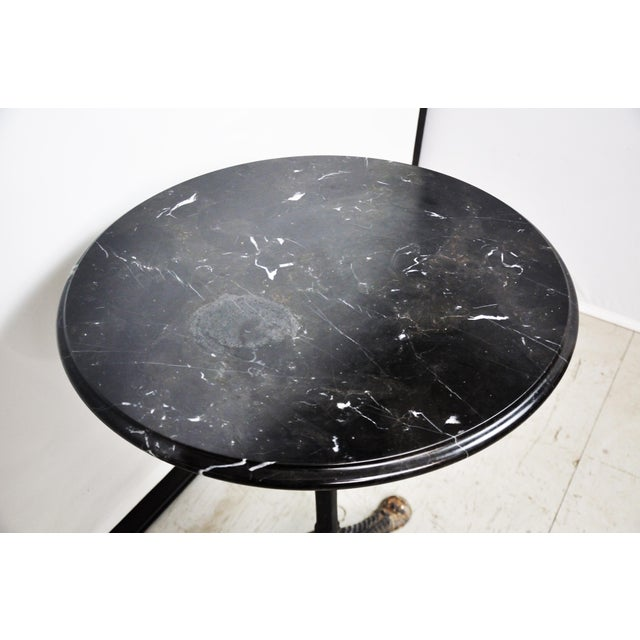 Metal Italian Black Marble Bistro Table For Sale - Image 7 of 13