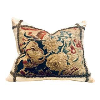 Vintage Textile Flemish Tapestry Pillow For Sale