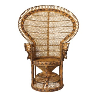 Vintage Large Rattan Emmanuel Style Peacock Chair