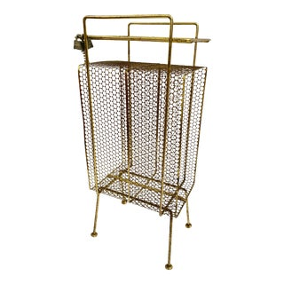 Mid-Century Modern Perforated Atomic Gold Metal Magazine Holder/Side Table For Sale