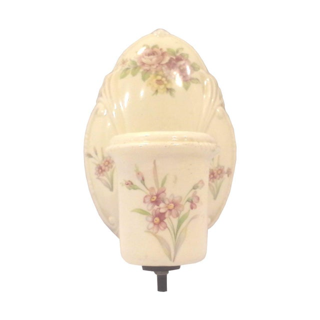 1940s Era Floral Ceramic Wall Sconce For Sale In Detroit - Image 6 of 6
