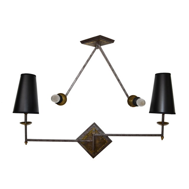 French Mid-Century Modern Metal & Brass Swing Arm Sconces, Wall Lights - Pair For Sale - Image 13 of 13