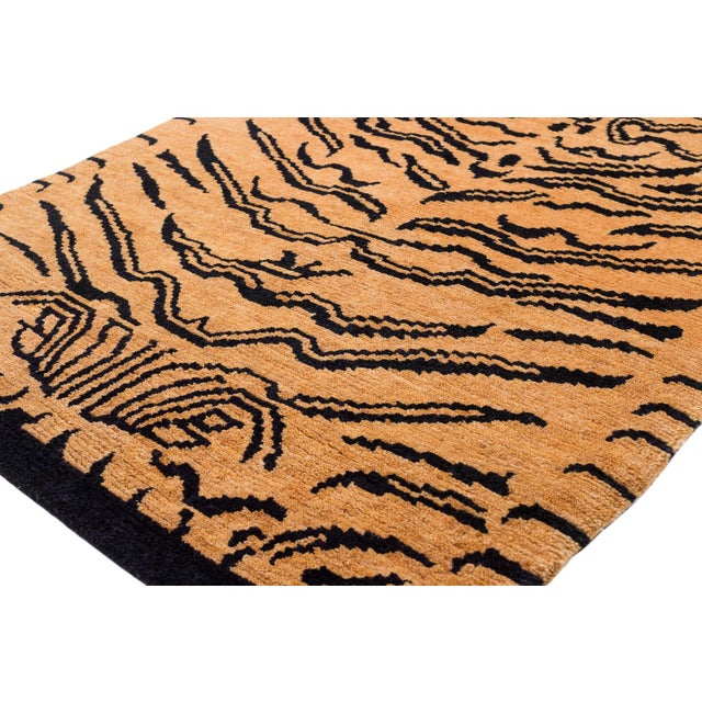 """Wool Tibetan Tiger Rug by Carini-3'x5'10"""" For Sale In New York - Image 6 of 8"""