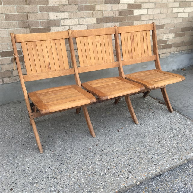 Mid-Century Modern Vintage Tandem Folding Stadium Theatre Seats For Sale - Image 3 of 7