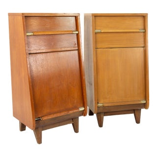 United Mid Century Walnut Tall Nightstand Foyer Entry Console For Sale