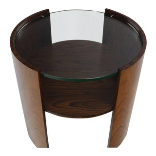 Mid-Century Modern Rosewood Round Glass Top Barrel Shape Side Table For Sale