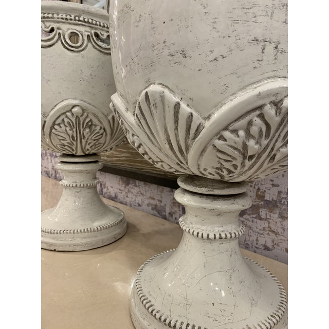 1980s Vintage Large White Italian Urns- A Pair For Sale - Image 4 of 9