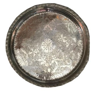 Channing Vintage Moroccan Silver Tray For Sale