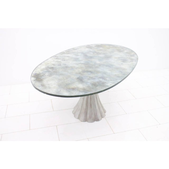 Oval Dining Table With Mirrored Glass Top and Metal Base Italy 1960s For Sale - Image 4 of 11