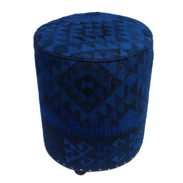 Wood Arshs Deandre Blue/Drk. Blue Kilim Upholstered Handmade Ottoman For Sale - Image 7 of 8
