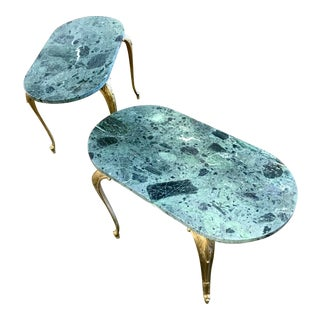 Antique French Louis XV Green Marble & Gilt-Bronze Petite Coffee Tables - a Pair For Sale